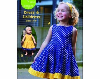 "Easy Peazy Pleats Pattern by Olive Ann Designs  Dress Sizes 3 - 8 & Matching 18"" Doll Dress Pattern"