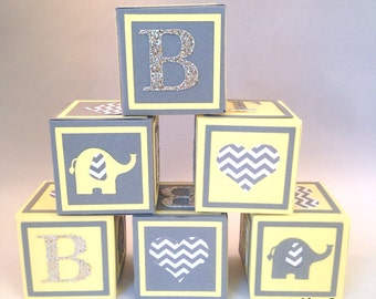 Small Alphabet Blocks, Baby Shower Decorations, Baby Shower Table decorations