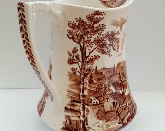 Alfred Meakin Reverie jug pitcher brown and cream vase