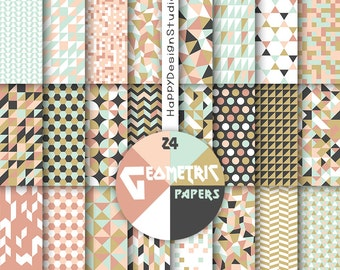 Geometric scrapbooking paper digital instant download pastel color geometrical background triangle blue pink mustard black mint & coral gold