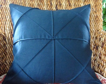 18 x 18 Navy Blue Linen/Cotton Blend Fabric Origami Pleated Pillow Cover