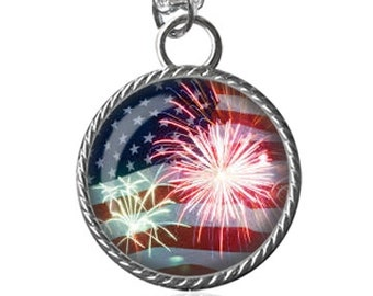 American Flag Necklace, Fourth Of July Necklace, Fireworks, Independance Day, Holiday Image Pendant Key Chain Handmade