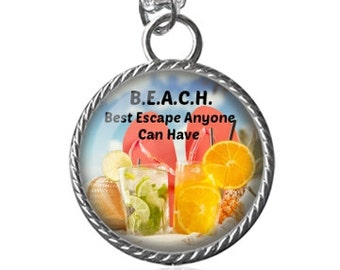 Beach Necklace, Summer Necklace, Beachy Saying Image Pendant Key Chain Handmade