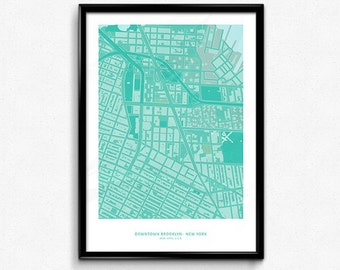 Brooklyn Downtown - New York City Map Poster Art Monochromatic Color