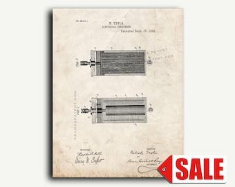 Patent Art - Tesla Electrical Condenser Patent Wall Art Print