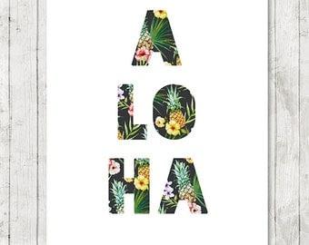 Aloha Print, Tropical Home Decor, Hawaii Print, Aloha Printable, Beach Art, Summer Wall Art, Hawaiian, Surf Art, 8x10 - INSTANT DOWNLOAD