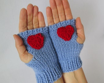 Valentines Day gift Fingerless Gloves with golden-colored chain with a red heart  Knitted Fingerless Gloves Handmade Fingerless Gloves