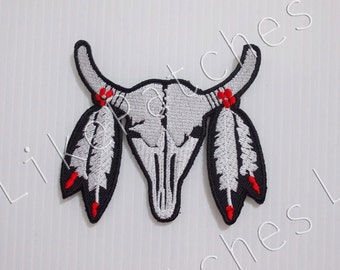 Buffalo Skull - Buffalo Horns New Sew / Iron on Patch Embroidered Applique Size 8.3cm.x7.2cm.