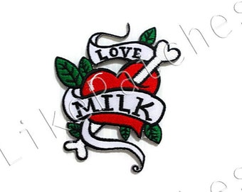 Love Milk Red Heart Ornament New Sew / Iron On Patch Embroidered Applique Size 7.1cm.x8.5cm.