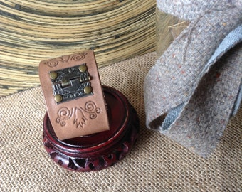 Leather Cuff - Light Brown- Antique Brass Hinge