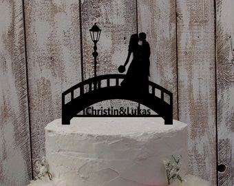 "Wedding Cake Topper ""Bride, Groom, and Bridge"""