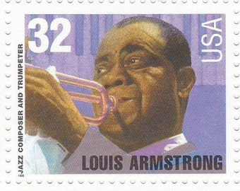 Qty of 10 Louis Armstrong .32 cent unused 1995 vintage postage stamps, These stamp are in excellent, unused, unhinged condition.