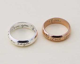Your Actual Handwriting Ring - Actual Signature Ring - Couple Jewelry - Engrave Ring