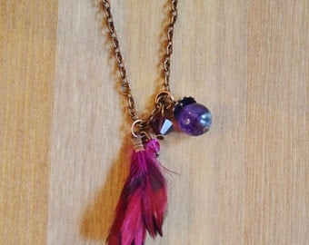 Long necklace/Chain purple feather