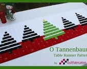 O Tannenbaum! Modern table runner PDF quilt pattern for instant download. Easy assembly!