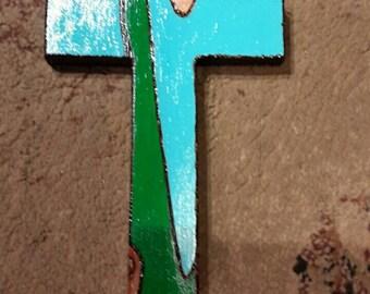 Woodburned/painted cross