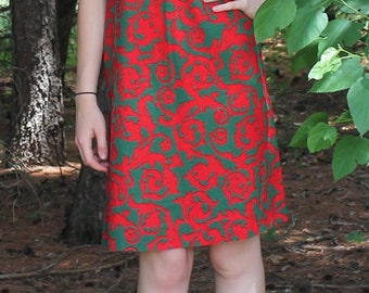 Red and Green Print Dress