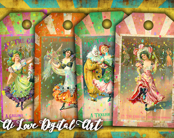 AT THE CARNIVAL Gift tags printable, digital collage sheet, instant download, vintage ephemera digital images for hang tags, jewelry cards