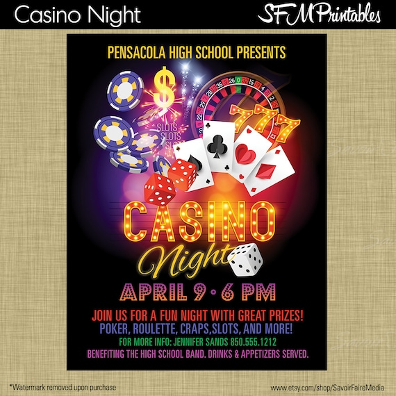 casino night poker slots roullette craps invitation poster