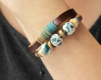 LEATHER BRACELETS for Women, Leather Cuffs For Her, Beaded Leather Bracelet, Gift for Women, Boho Leather Cuff, Leather Jewelry
