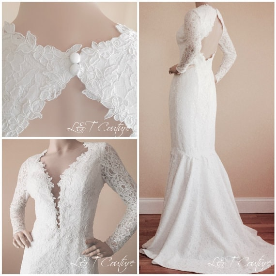 Lace Wedding Gown Open Keyhole Back Wedding By LTCoutureAtelier
