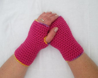 Adult pink arm warmers, wrist warmers - handmade crocheted fingerless gloves, armwarmers, wristwarmers, gifts for women, stocking fillers