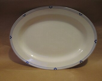 K T & K Oval China Platter White with Blue Decoration