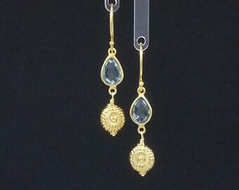 Blue Topaz & Gold Vermeil Earrings