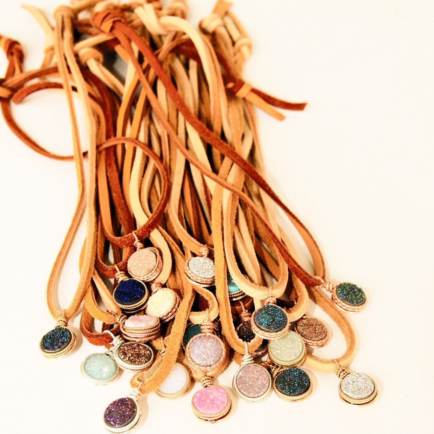 Druze Charm Necklaces on Leather handcrafted by Bare and ME on Etsy/ Colorful Druzy Leather Necklaces/ Bohemian Druzy and Leather Jewelry