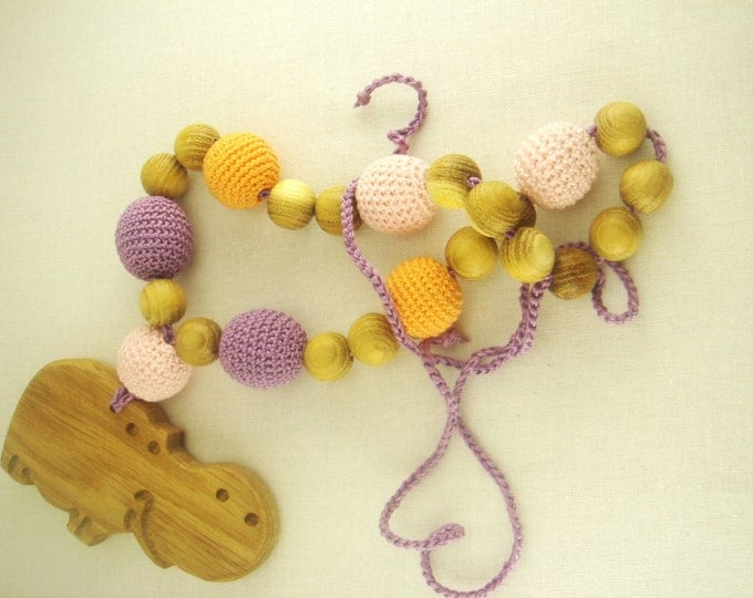 Nursing Necklace, Hippo, natural teether, exclusive toys, natural and safe, teether hippo, for newborn, feeding necklace, best gift