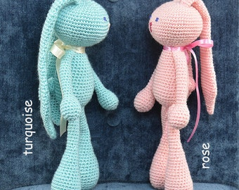 Crochet Toy Rabbit, bonded with Ribbon, Plush Toy, Gift, COLORS