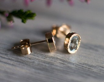 0.4CT Aquamarine Earrings in 14k Gold, Light Blue Gemstone Stud Earrings, Solid 14k gold  Jewelry, Anniversary Gift, Birthday Gift For Her