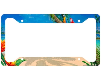 beach license plate frame beach car tag frame beach license plate holder ocean palm trees beach chairs license plate frame 30 4600