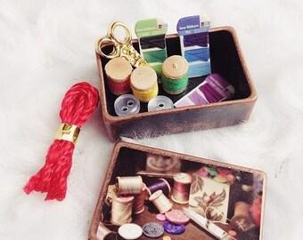 ON SALE Miniature Sawing Box Set,Miniature Sawing Box,Doll's house,Sawing Box Set,Sawing Set,Miniature,Doll Accessories