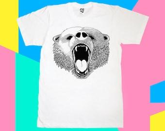 Bear T-shirt, Mens Tee, Mens Tshirt, Grizzly Bear, Cool tshirt, Animal tshirt, Cotton, Screen printed, Hand printed t-shirt, white tshirt