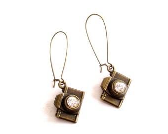 Camera Earrings, Antiqued Brass Rhinestone Camera Earrings, Photographer Jewelry, Camera Jewelry, Pierced Dangle Earrings