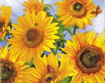 """6 Decoupage Napkins Flowers/Floral 33x33 cm. 13""""x13"""" set of 6 pcs"""