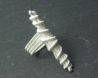 Cathan, cocoon adjustable ring  woven in sterling silver