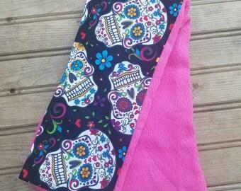 Pink Sugar Skull baby burp cloth