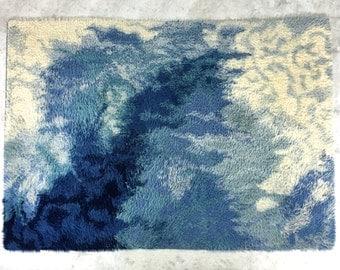 4x6-5x7 Vintage Blue Ege Rya Wool Shag Area Rug Carpet Mid Century Danish Modern
