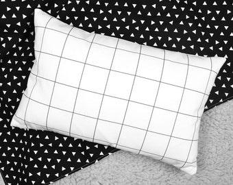 Modern Accent Pillow - Black + White Grid Design   modern nursery   modern baby room ideas   decorative pillow   modern
