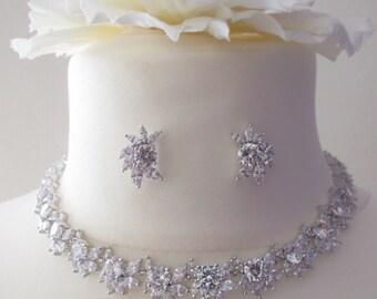 Luxury Cubic Zirconia Necklace Earrings Bridal Set, Vintage Style Set Crystal Wedding Jewelry Set,