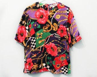 Vintage 80s Baroque Checkered Floral Shirt