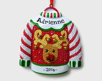 Ugly Christmas Sweater Personalized Ornament - Hand Personalized Christmas Ornament