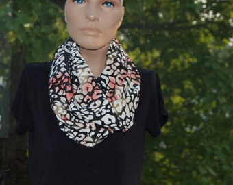 Choral, Black, and White Cheetah Infinity Scarf