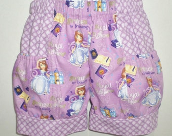 Princess Sophia The First  Baby Toddler Birthday Party Boutique Bubble Shorts with Side Pocket! Sizes 6-12 Mo, 12-18 Mo, 2 ,3, 4, 5, 6, 7, 8