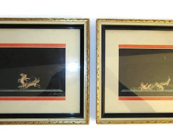 Vintage Pair Italian Gouache Paintings Pompeian Putti Cherubs With Chariot & Deer Frieze A. Bisogno Signed Diptych Set of Two 9x7.5