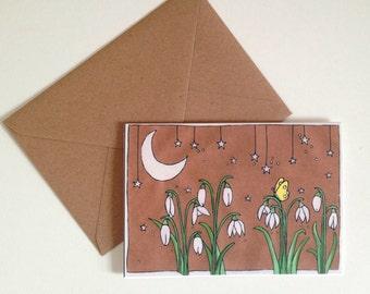 Snowdrops Illustration Greeting Card