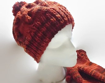 Hand Knit Wool Hat, Hand Dyed Peruvian Wool, Cable Knit Hat, Pompom Beanie
