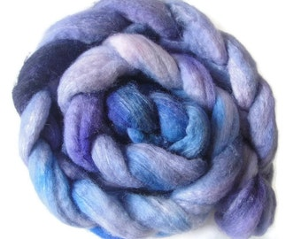 BFL wool with silk roving, top 4 oz hand dyed spinning or felting fiber